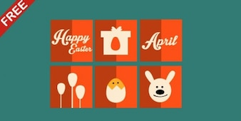 Flat easter icons vector set
