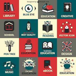 Flat education symbols set