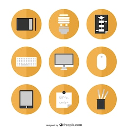 Flat icons free graphics set