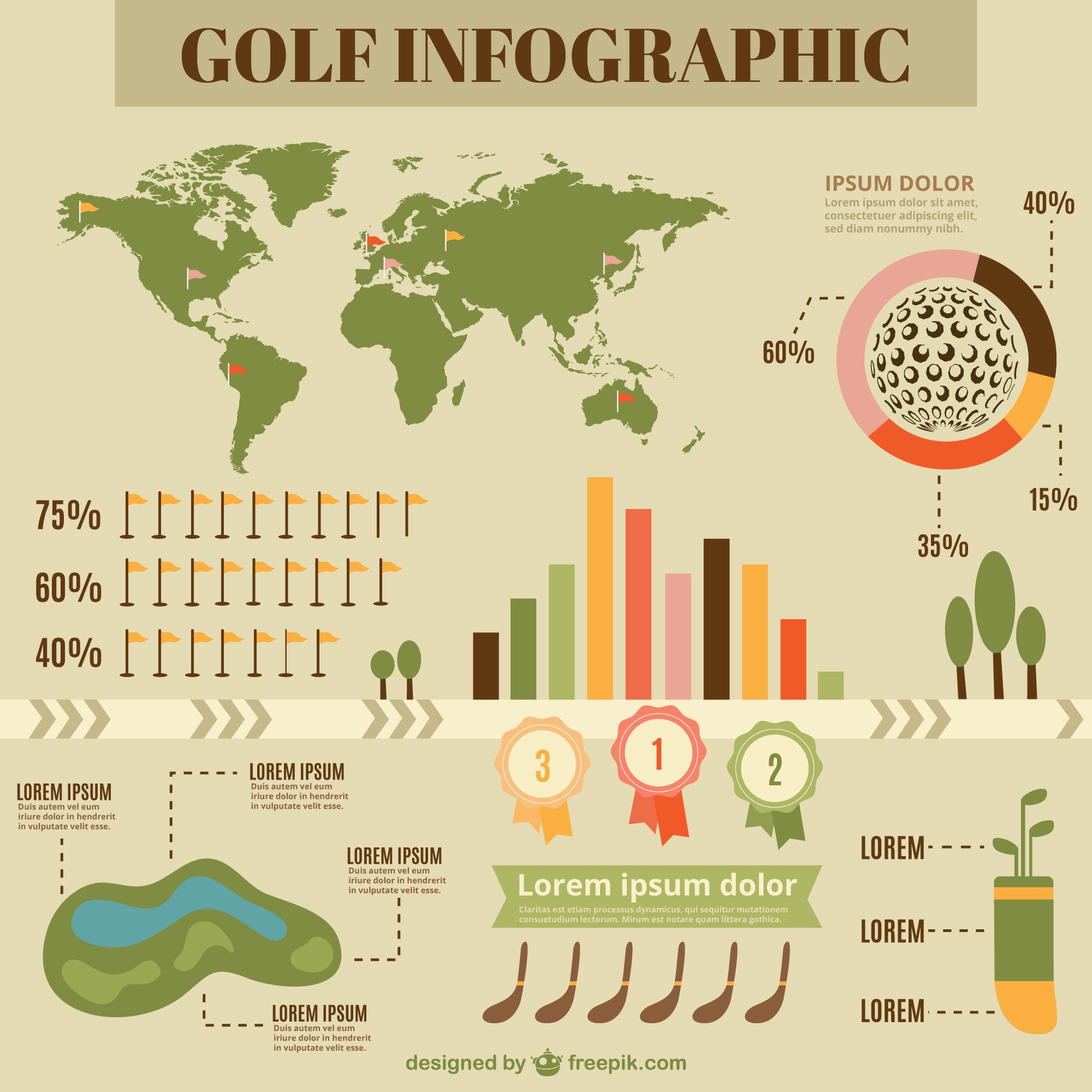 Flat infography of golf