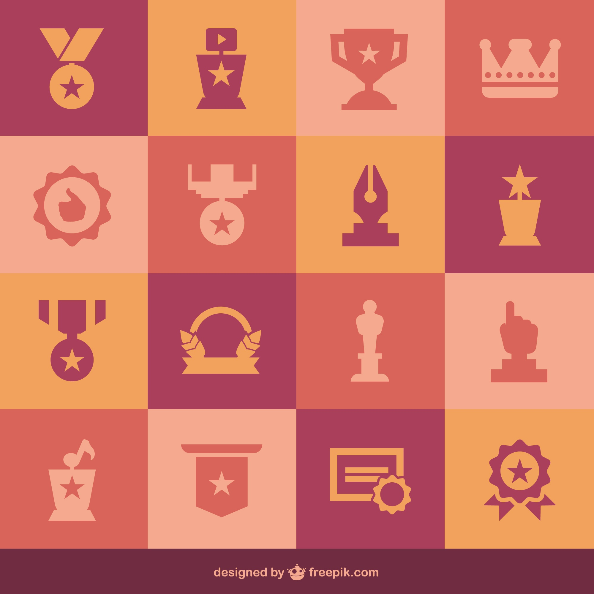 Flat medals set of icons