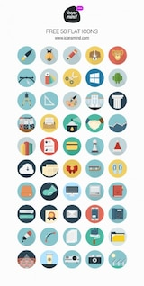 flat retro icon set