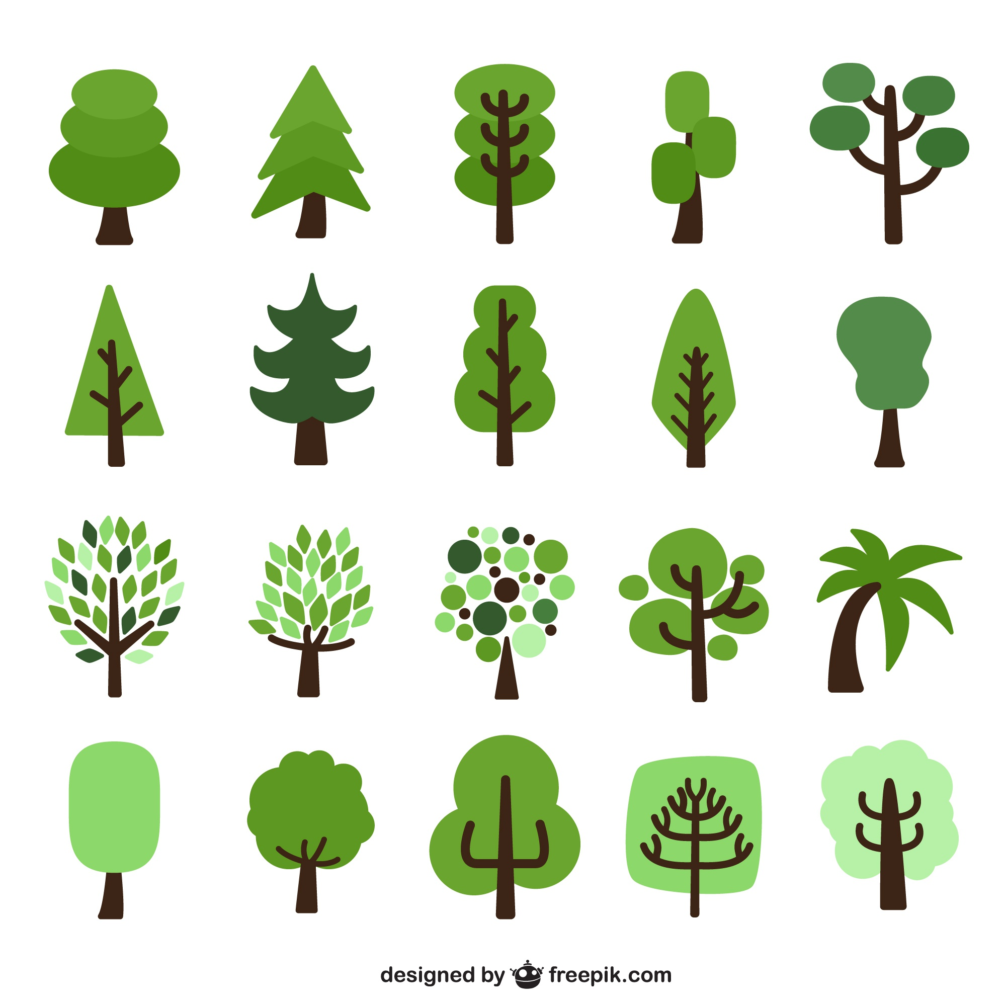 Flat trees cartoons pack
