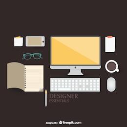 Flat vector illustration designer kit concept