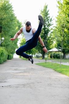 Flexible sportsman jumping