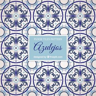Floor tiles pattern in blues tones