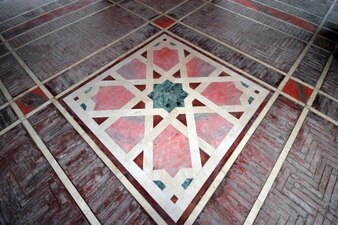 Floor with decorations