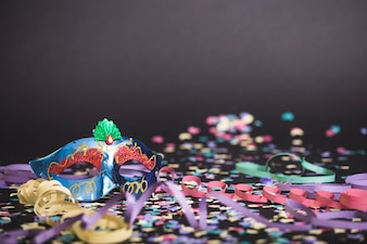 Floor with mask and confetti