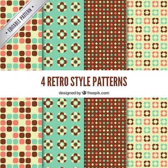 Floral and dotted patterns in retro style