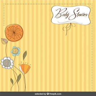 Floral and striped baby shower card