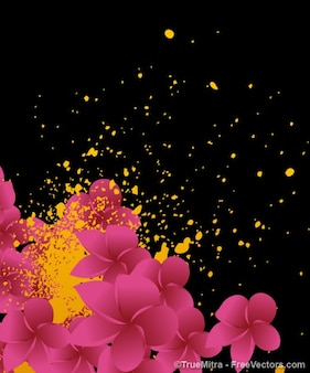 Floral background with yellow paint splatters