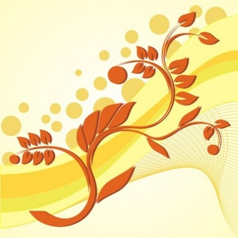 Floral background with yellow waves
