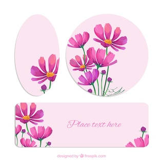 Floral banners in different shapes