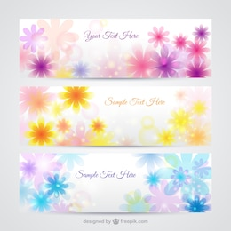 Floral banners in spring style