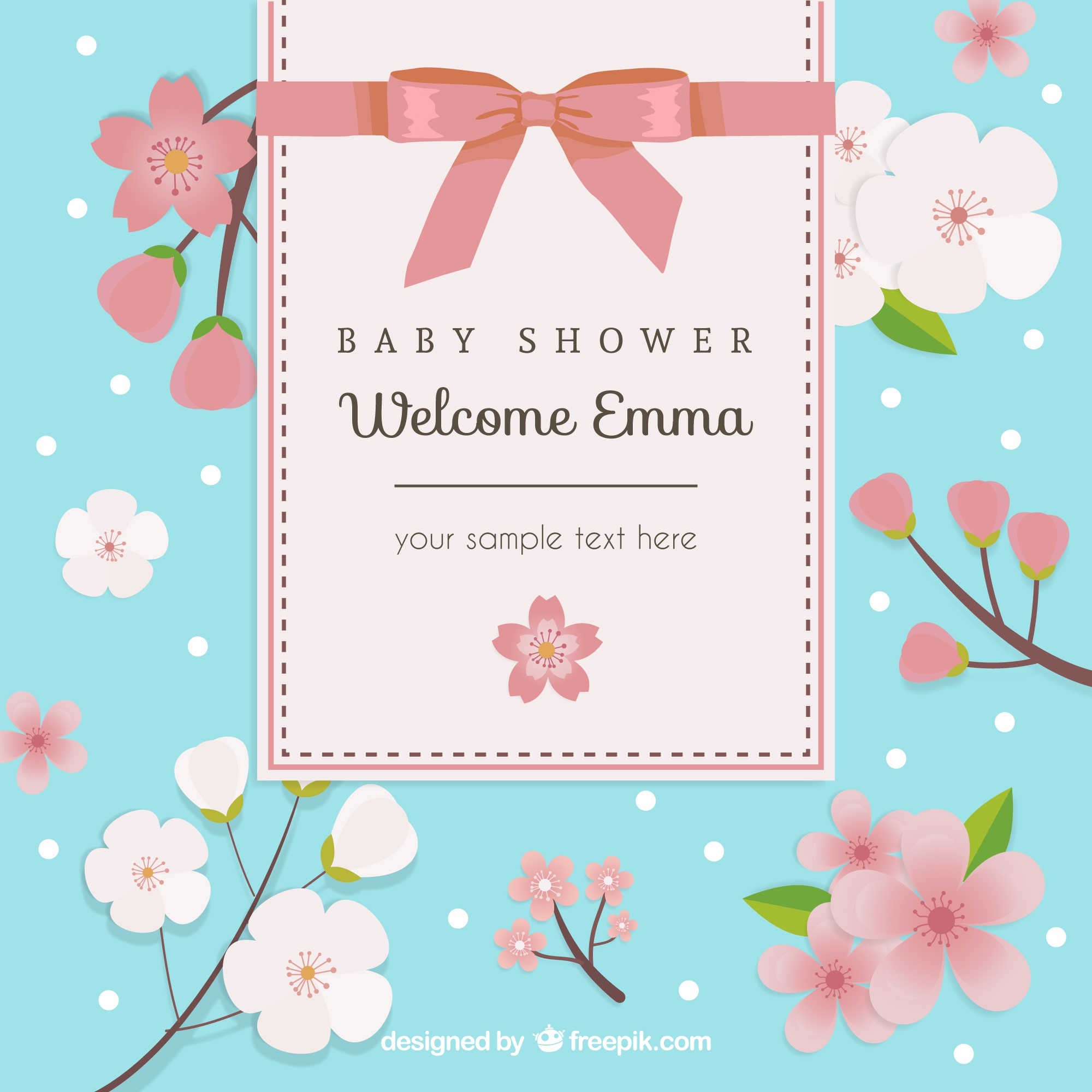 Floral card for baby shower
