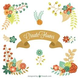 Floral elements vector graphics