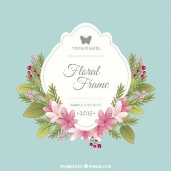 Floral frame and vintage label