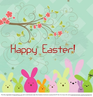 Floral happy easter background with rabbits