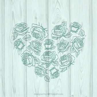 Floral heart on wood