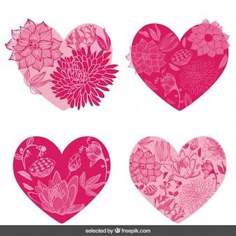 Floral hearts set