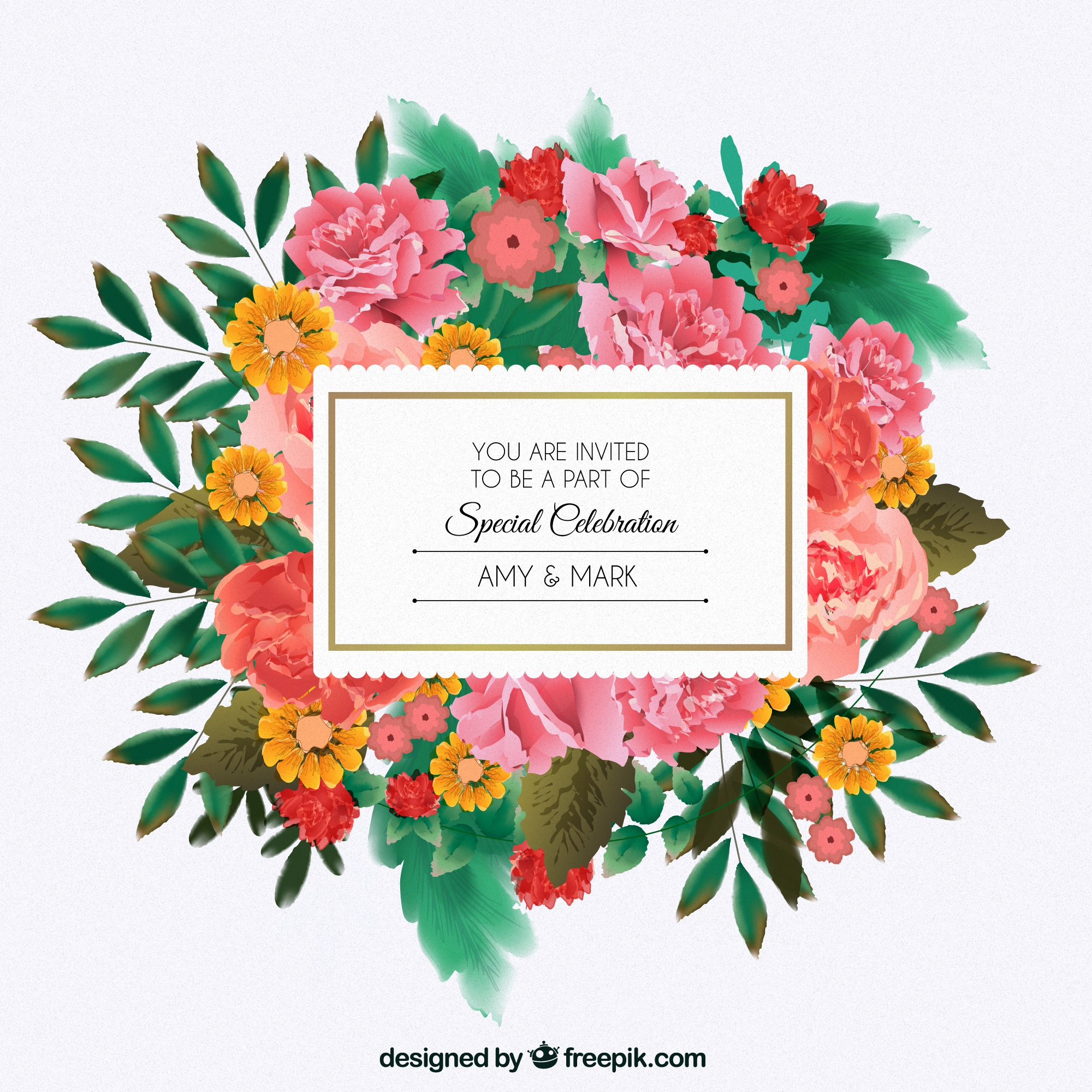 Floral invitation for wedding