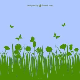 Floral landscape vector template