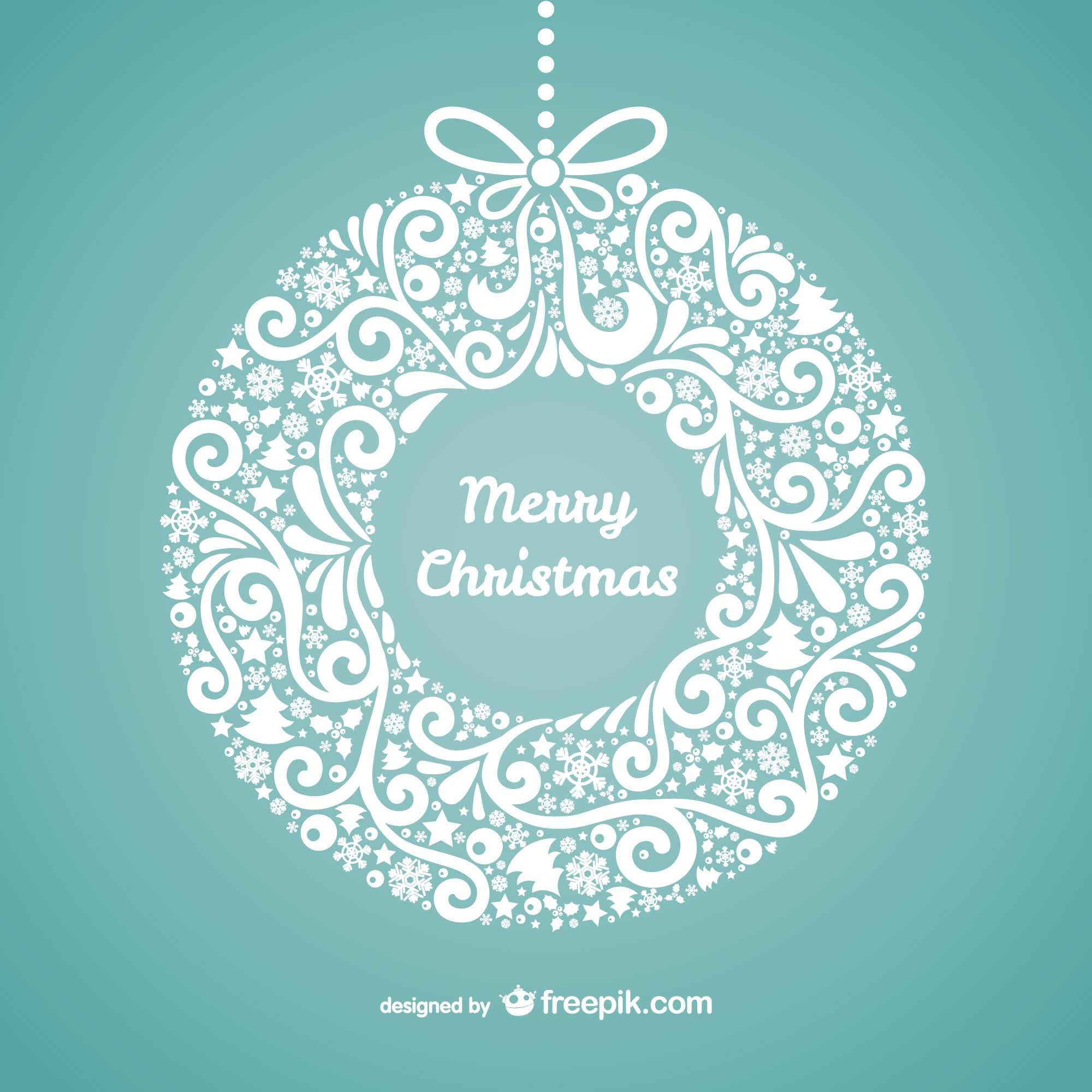 Floral merry Christmas card