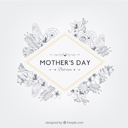 Floral mothers day badge in retro style