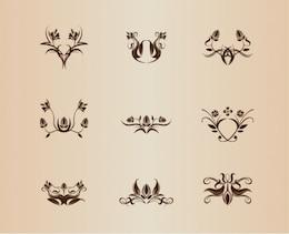 Floral ornaments design vector set