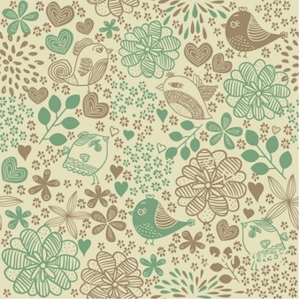 Floral pattern with birds vintage background