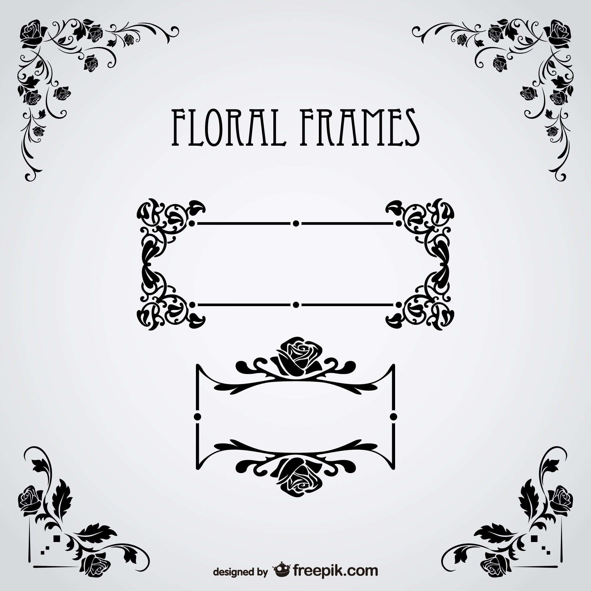 Floral text frames free vector