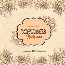 Floral vector retro greeting card