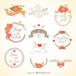 Floral wedding badges
