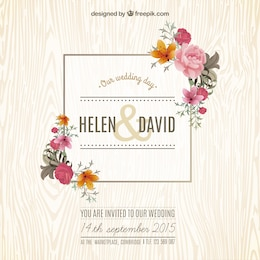 Floral wedding card in spring style