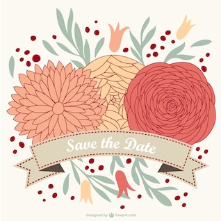 Floral wedding invitation free for download