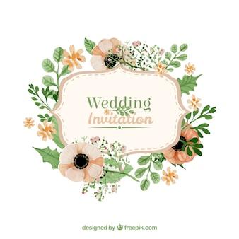 Floral wedding invitation in retro style