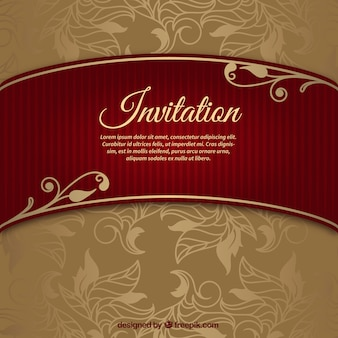 Floral wedding invitation with riband