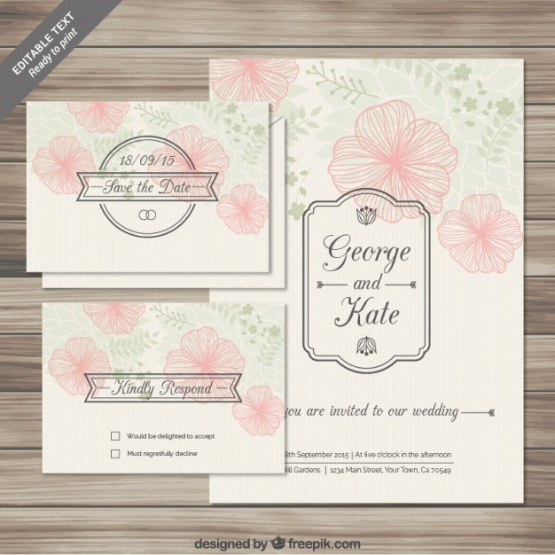 Floral wedding invitations cards in sketchy style