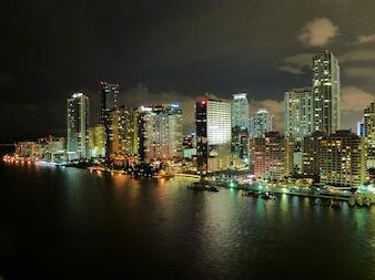 Florida night skyline miami clouds