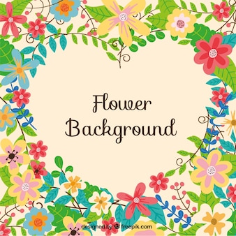 Flower background with a heart