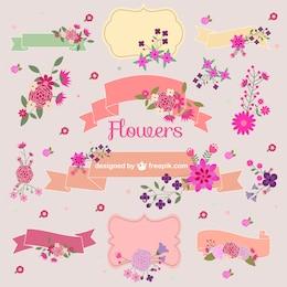 Flower bouquets vector graphic elements