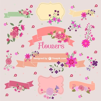 Flower bouquets vector graphic elements