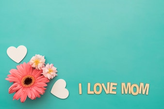 """花、心、 """"私はお母さんが大好き""""レタリング"""