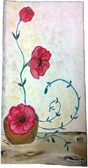 flower painting drawing poppies