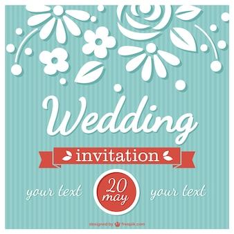 Flower wedding card retro style