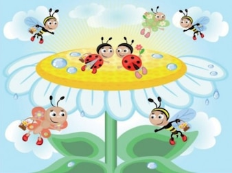 flowers and beautiful honey bees background vector