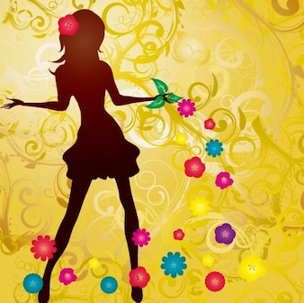 Flowers and gilded background girl vector