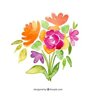 Flowers bouquet in watercolor style