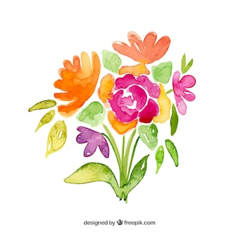 Flowers bouquet in watercolor style