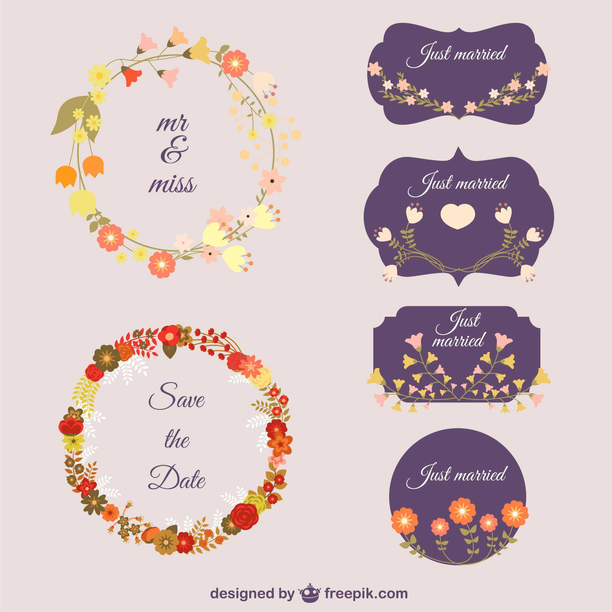 Flowers decorative vectors
